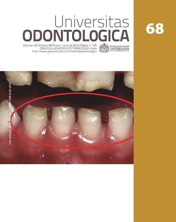 TABLA CONTENIDO NÚMERO ACTUAL: Universitas Odontologica – año 2013 volumen 32 número 68